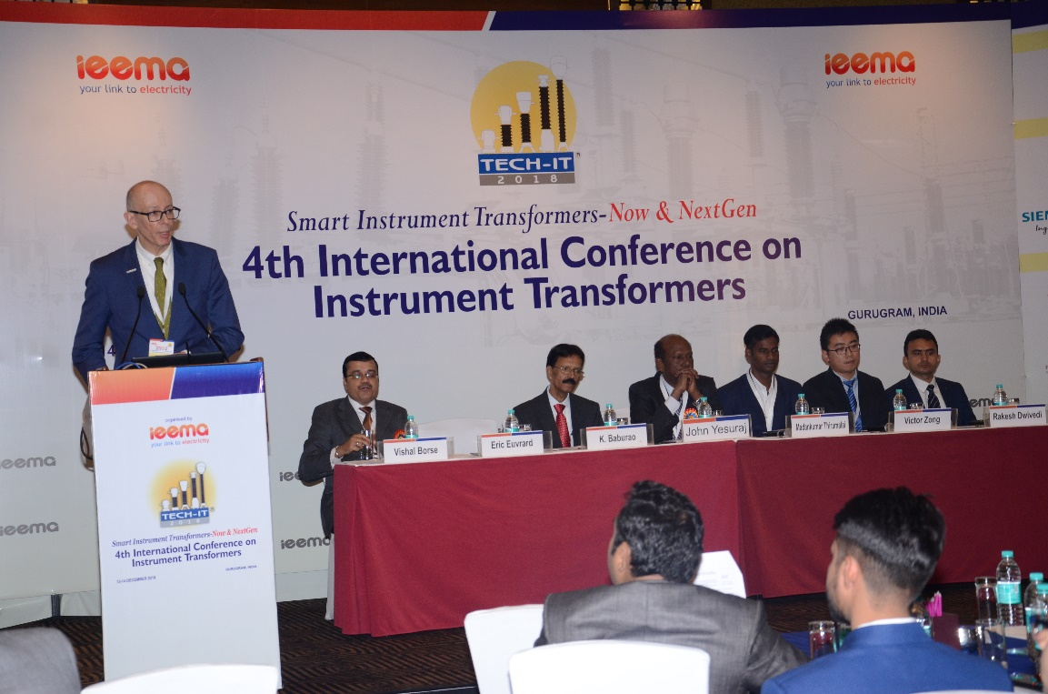 RHM Intternational President Eric Euvrard addressing the Insturment Transformers conference in New Delhi