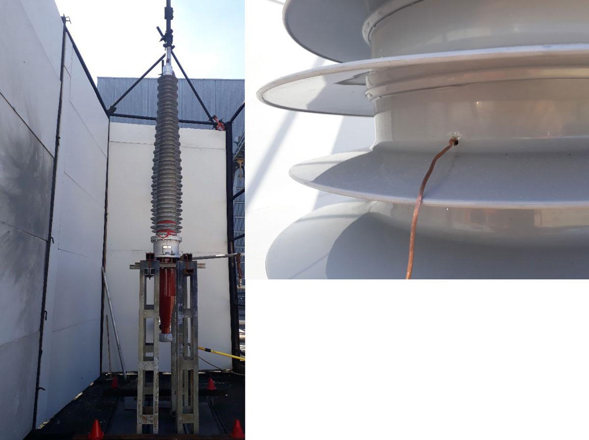 Photos of Internal arc fault test setup of RIF transformer bushing by RHM International